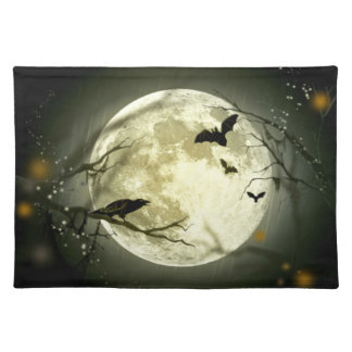 Halloween Placemat - Full Moon, Bats & Raven