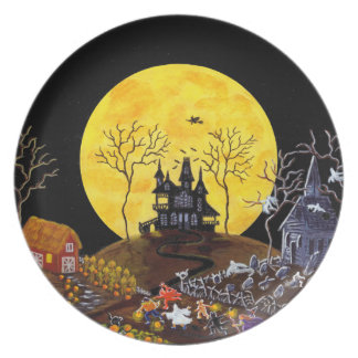 Halloween,plate,ghosts,haunted,house,witch Plate