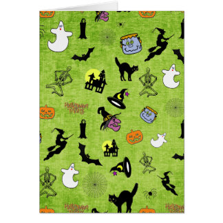 Halloween Pop Art Collage on Lime Green Texture Card