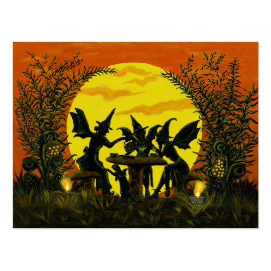 Halloween postcard ,fairy witches tea party