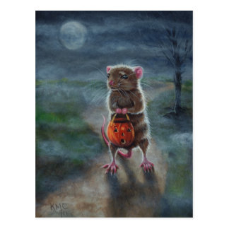 Halloween Postcard Rat Pumpkin night moon fog