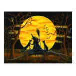 Halloween, postcard,witch,black,cats,bats,owl