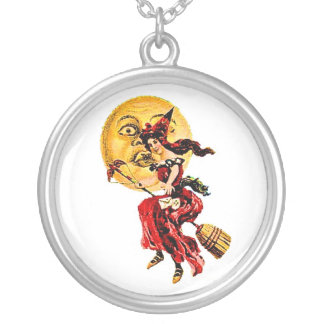 Halloween Pretty Witch on Broom Round Pendant Necklace