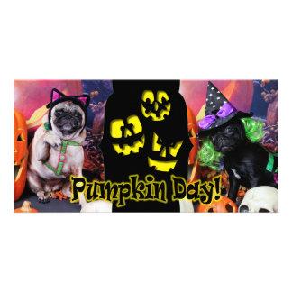 Halloween - Pug - Daisy Mae and Lily Lou Photo Greeting Card