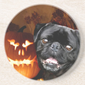 Halloween Pug Dog Beverage Coasters