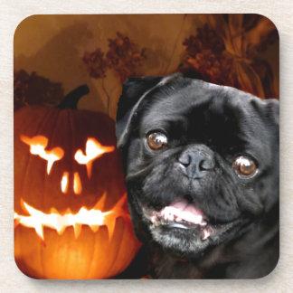 Halloween Pug Dog Beverage Coasters