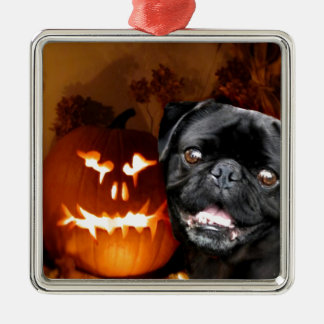Halloween Pug Dog Silver-Colored Square Decoration
