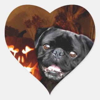 Halloween Pug Dog Heart Sticker