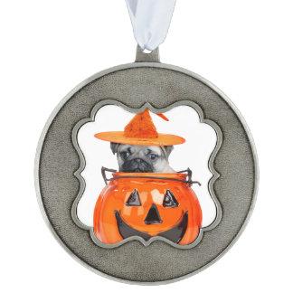 Halloween pug dog ornament scalloped pewter decoration