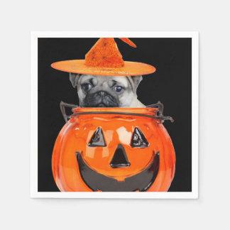 Halloween pug dog paper napkin
