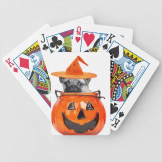 Halloween pug dog playing cards