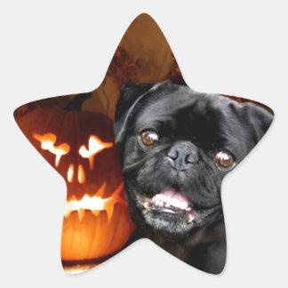 Halloween Pug Dog Star Sticker
