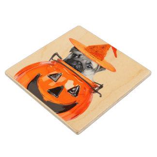 Halloween pug dog wooden coaster maple wood coaster