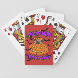 Halloween Pug Pug-o-Lantern Playing Cards