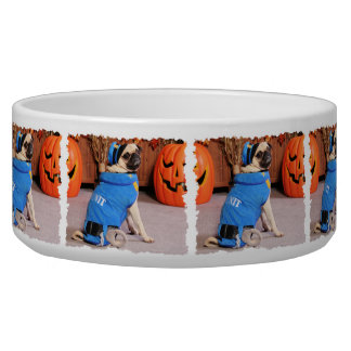 Halloween - Pug - QuaziMoto - Stephanie Pet Food Bowls