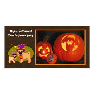 Halloween pugs customized photo card