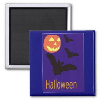 Halloween Pumpkin and Bats Refrigerator Magnets