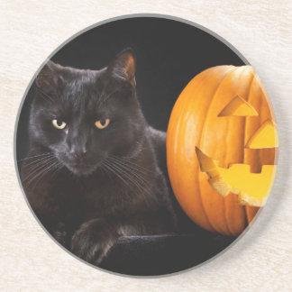 Halloween pumpkin and black cat coaster