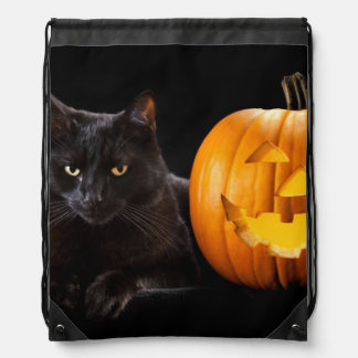 Halloween pumpkin and black cat drawstring bag