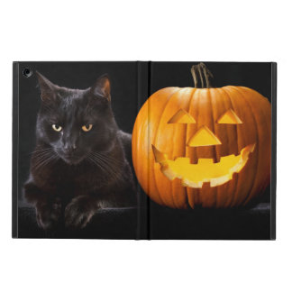 Halloween pumpkin and black cat iPad air cover
