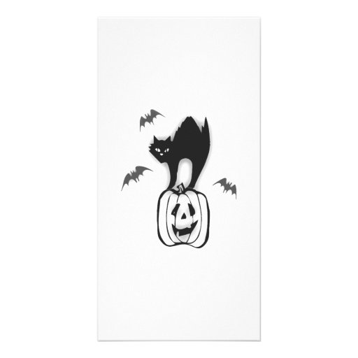 Halloween Pumpkin and Black Cat Personalized Photo Card