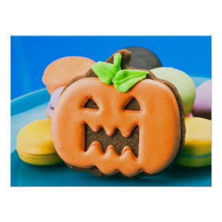 Halloween pumpkin and colorful cookies poster