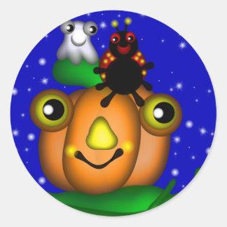 Halloween Pumpkin and Pals Round Sticker