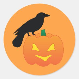 Halloween Pumpkin and Raven Classic Round Sticker