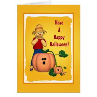 Halloween Pumpkin and Scarecrow Card