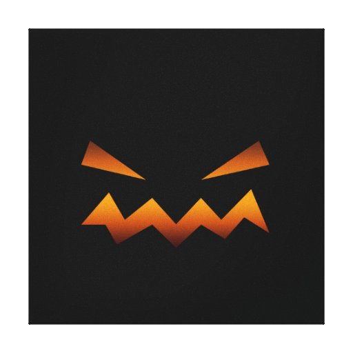 Halloween pumpkin angry face stretched canvas prints