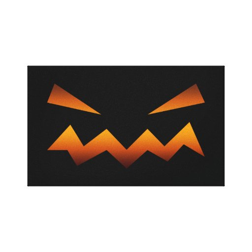 Halloween pumpkin angry face gallery wrapped canvas