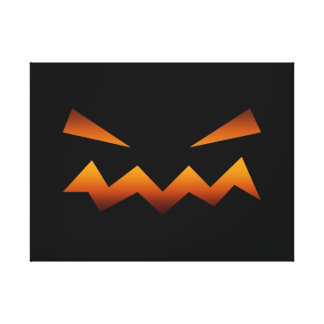 Halloween pumpkin angry face canvas prints