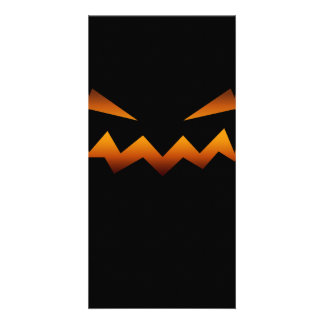 Halloween pumpkin angry face picture card