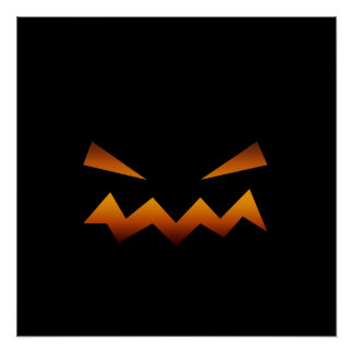 Halloween pumpkin angry face poster