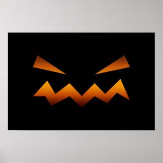 Halloween pumpkin angry face print