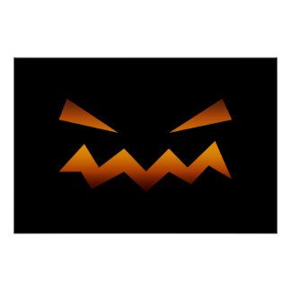 Halloween pumpkin angry face posters