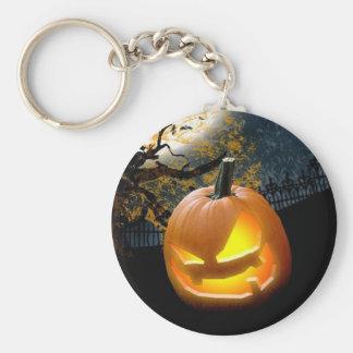 Halloween Pumpkin Basic Round Button Key Ring