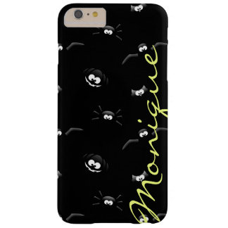 halloween pumpkin, bat, spider and owl with name barely there iPhone 6 plus case