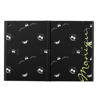 halloween pumpkin, bat, spider and owl with name iPad air cover