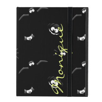 halloween pumpkin, bat, spider and owl with name iPad folio cover