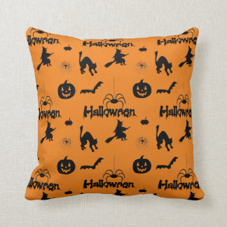 Halloween pumpkin bat witch spider pattern throw pillow