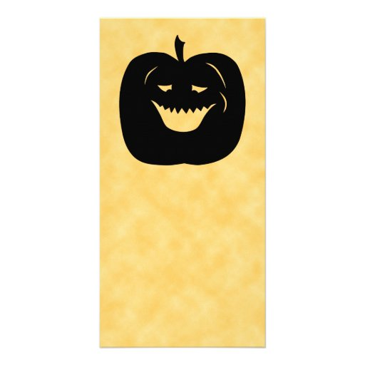Halloween Pumpkin, Black and Orange. Photo Card Template