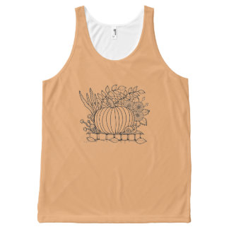 Halloween Pumpkin Black Line Art Design All-Over Print Tank Top
