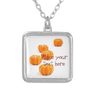 Halloween pumpkin candy silver plated necklace