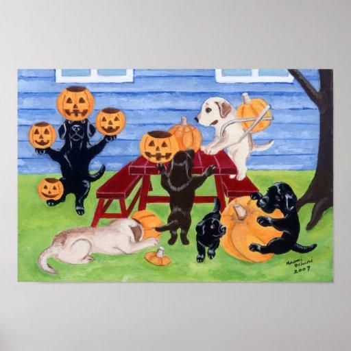 Halloween Pumpkin Carving Labradors Artwork Poster