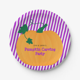 Halloween Pumpkin Carving Party Paper Plate