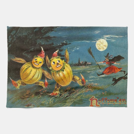 Halloween Pumpkin Characters and Witch Tea Towel