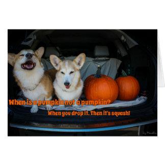 Halloween pumpkin corgi card