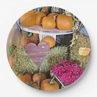 Halloween Pumpkin Display Party Paper Plates