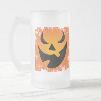 Halloween Pumpkin Face Glass Mug